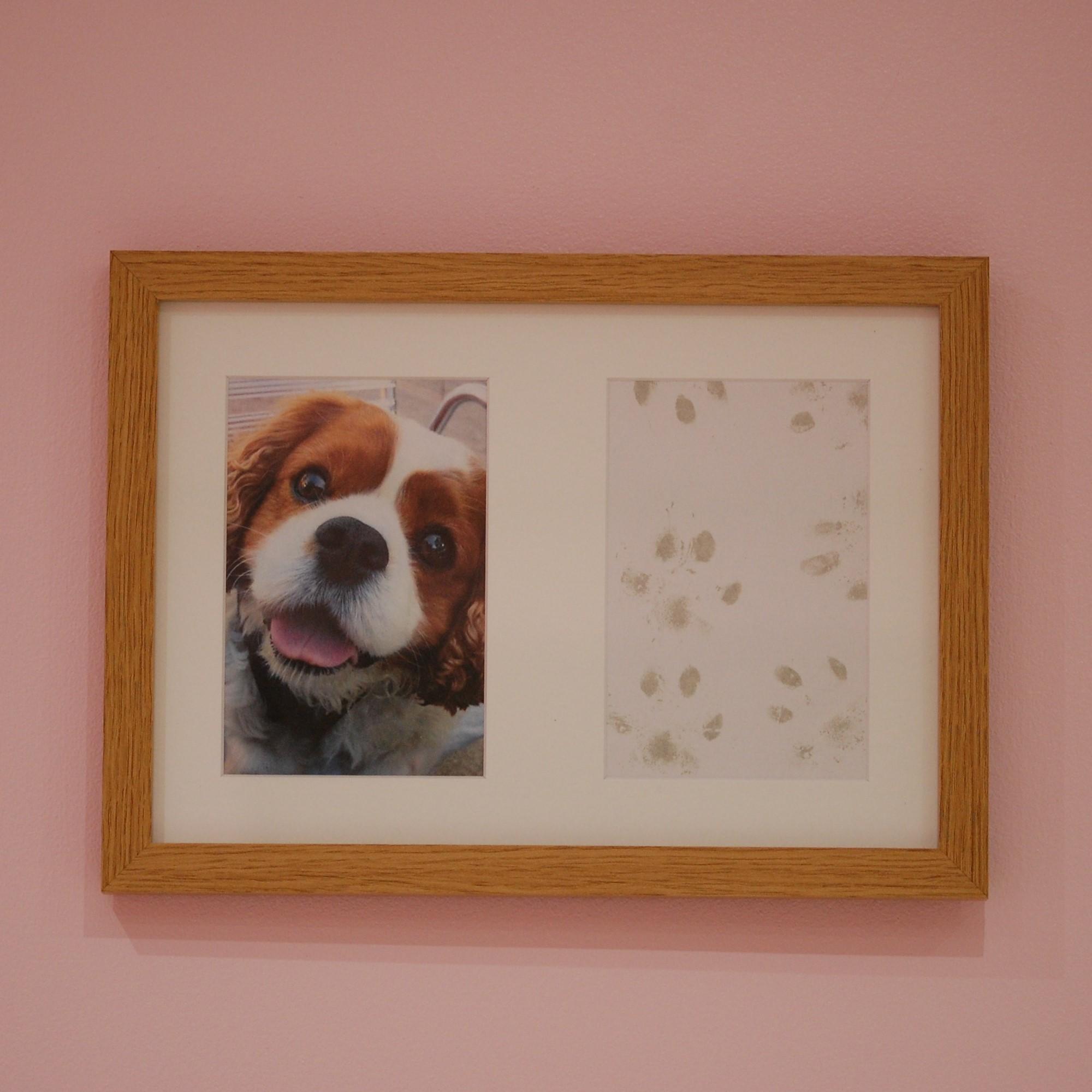 French oak effect frame with dog paw print and photo keepsake