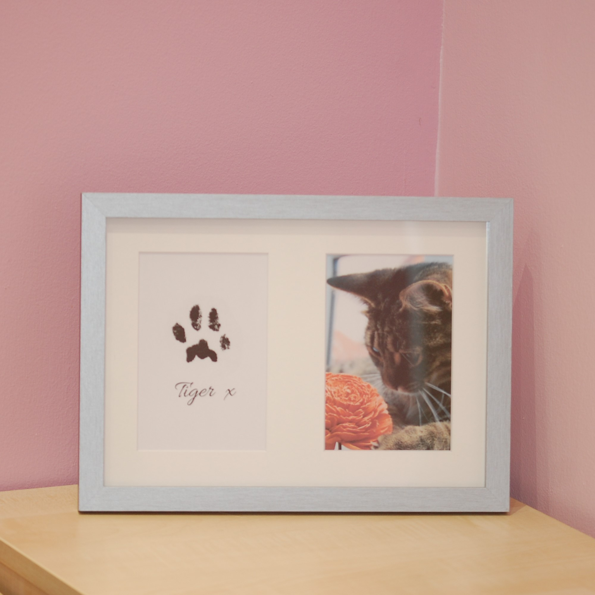 Brushed silver frame with cat photo and digital paw print after a little tidying up