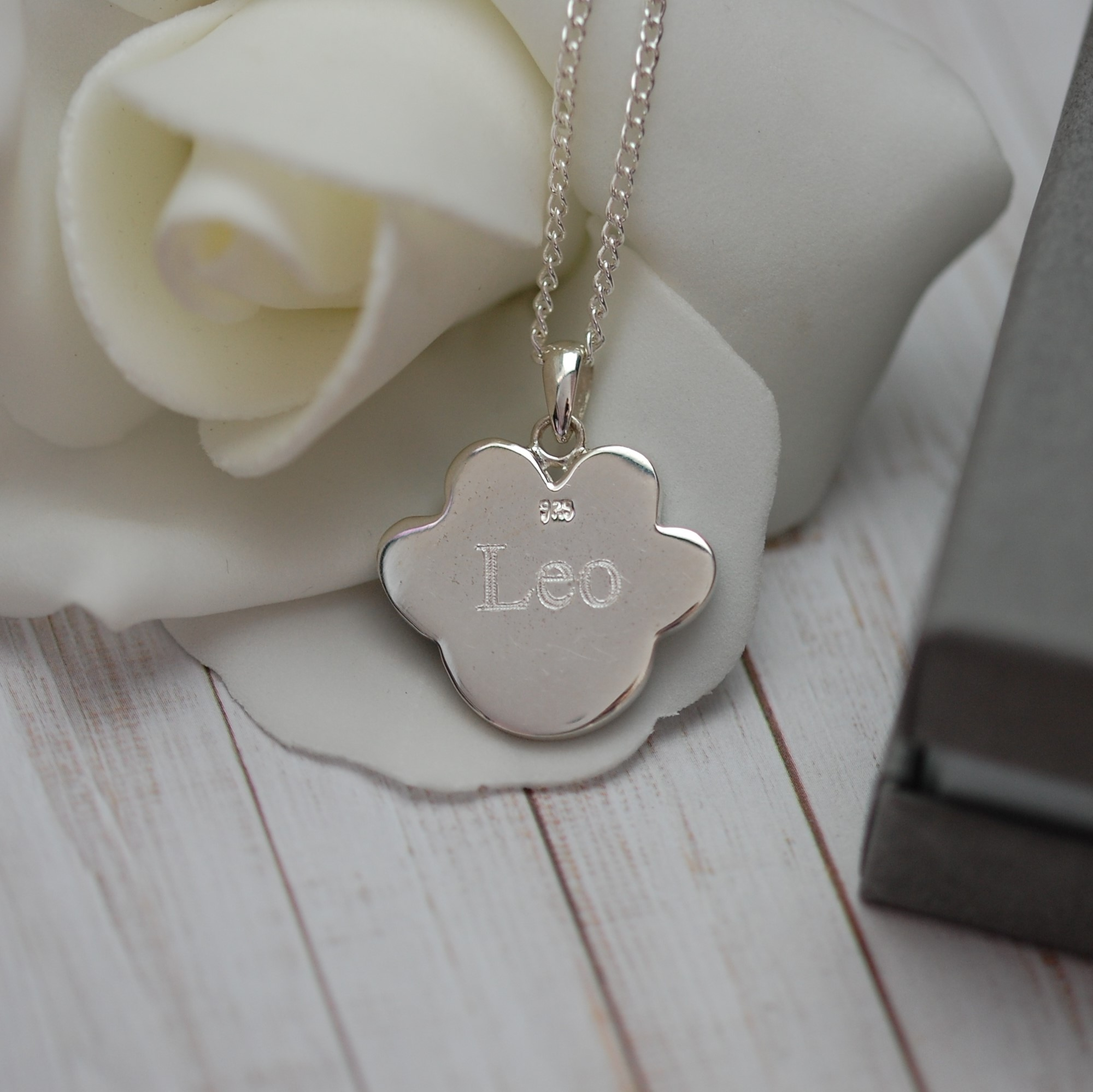 """""""Leo"""" engraved on the back of the dog memorial paw print ashes pendant"""